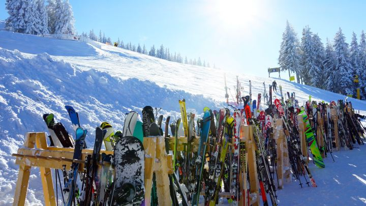 Skis at the bottom of a ski run